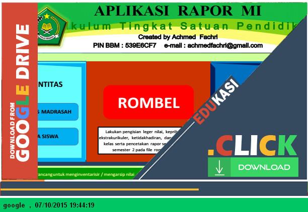 Aplikasi Raport KTSP MI dengan Microsoft Excel - Download