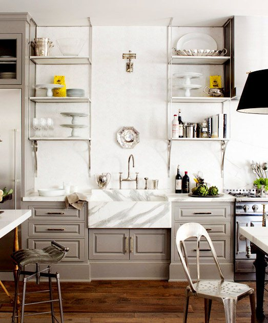 kitchen with windsor gray cabinets, marble backsplash, and carrara metal shelves