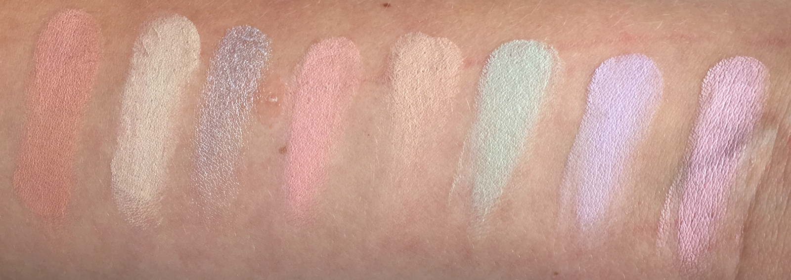 Makeup Revolution Colour Correcting Ultra Base Palette Swatches
