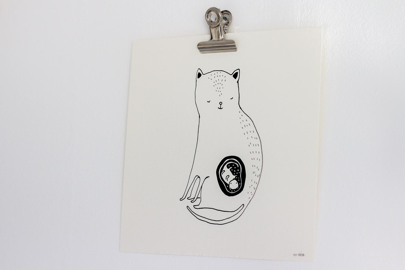 Majasbok ilustração gata grávida