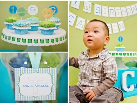Alphabet 1st Birthday The Source Of Inspiration For This Year Party Came From Her Sons Initials Cc Modern School Theme Is Such A Fun