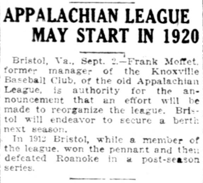 Old Knoxville Base Ball: Appalachian League May Start In 1920