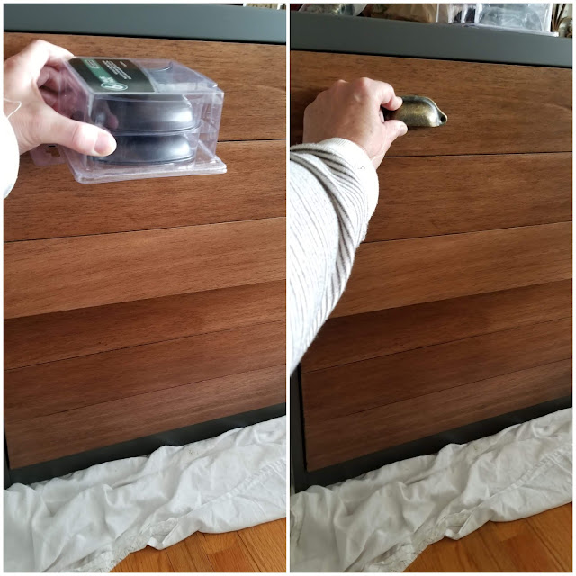adding hardware and wood slats to file cabinet drawers