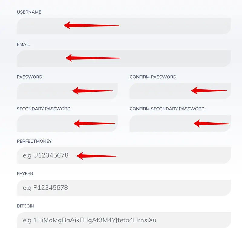 Регистрация в Forexina 2