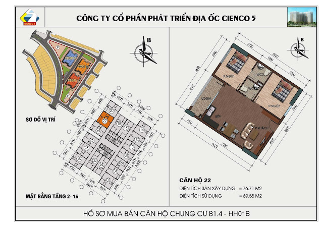 Sơ đồ căn hộ chung cư B1.4 căn 22 tòa HH01B