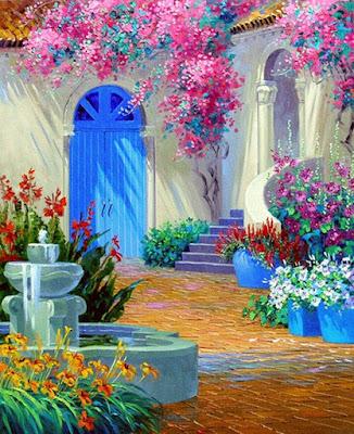 cuadros de fachada de casa con flores