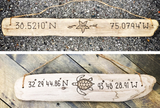 Custom Driftwood Coordinate Signs