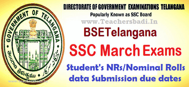 TS SSC,Student's NRs Nominal Rolls data Submission,due dates