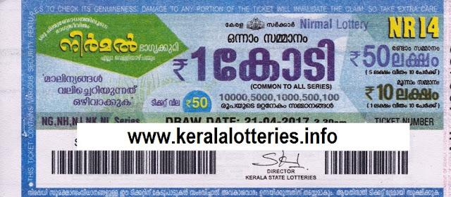 Kerala lottery result live of Nirmal (NR-15) on 28 April 2017