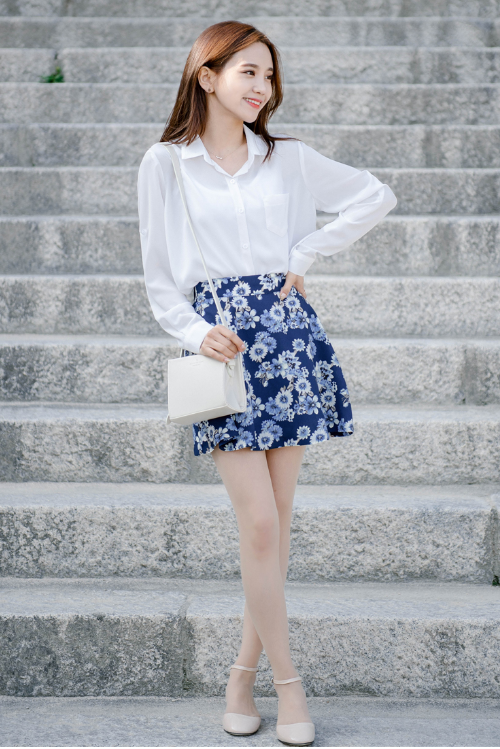 Floral Print High Waist Flared Skirt