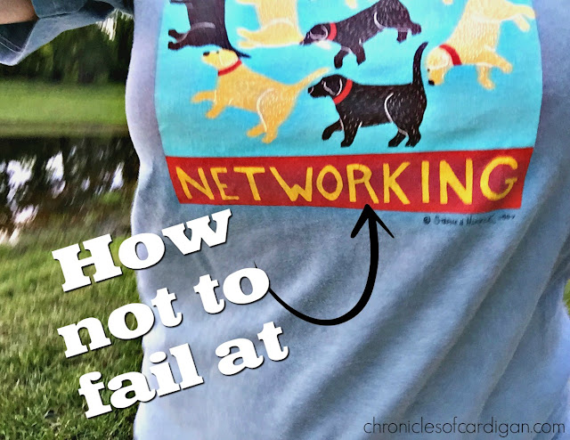 How Not to Fail at Networking caption on t-shirt graphic