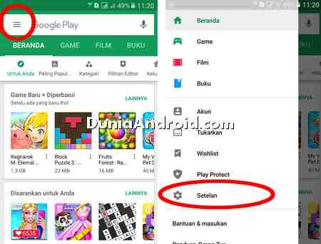 menu setelan notifikasi update aplikasi