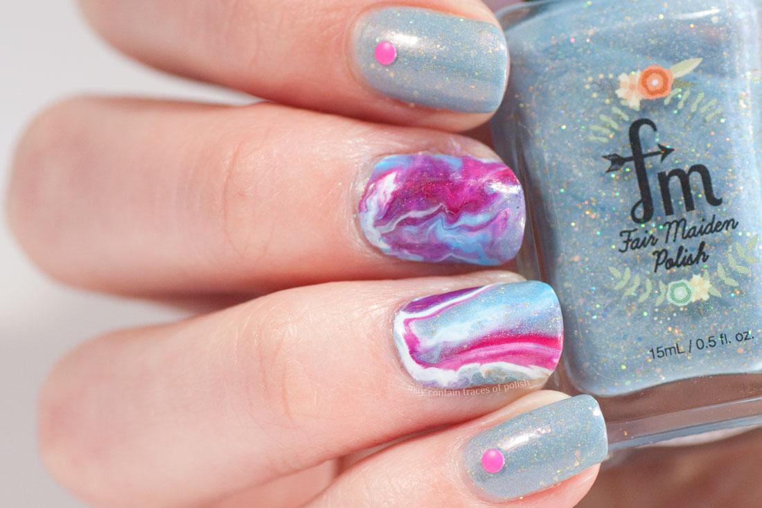 Swirly Marble Nail Design