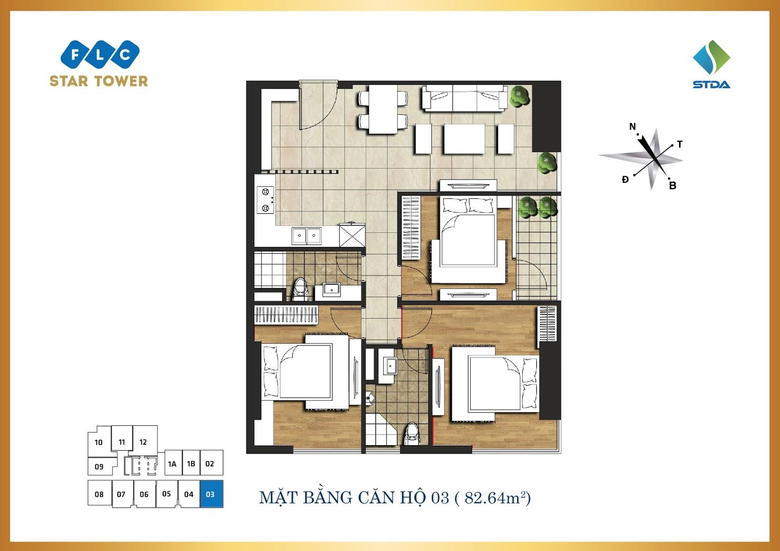Thiết kế căn hộ số 3 - Chung cư FLC Star Tower