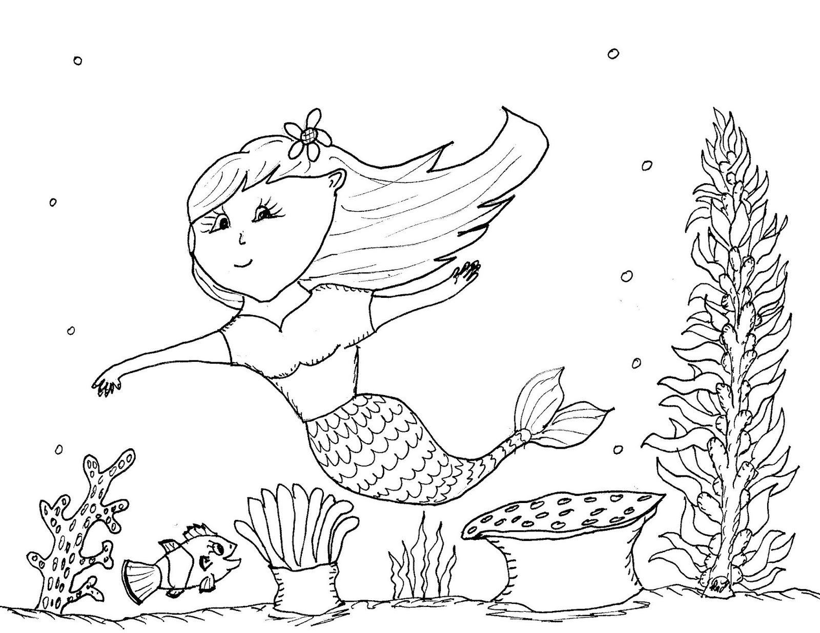 Robin S Great Coloring Pages Happy Little Mermaid