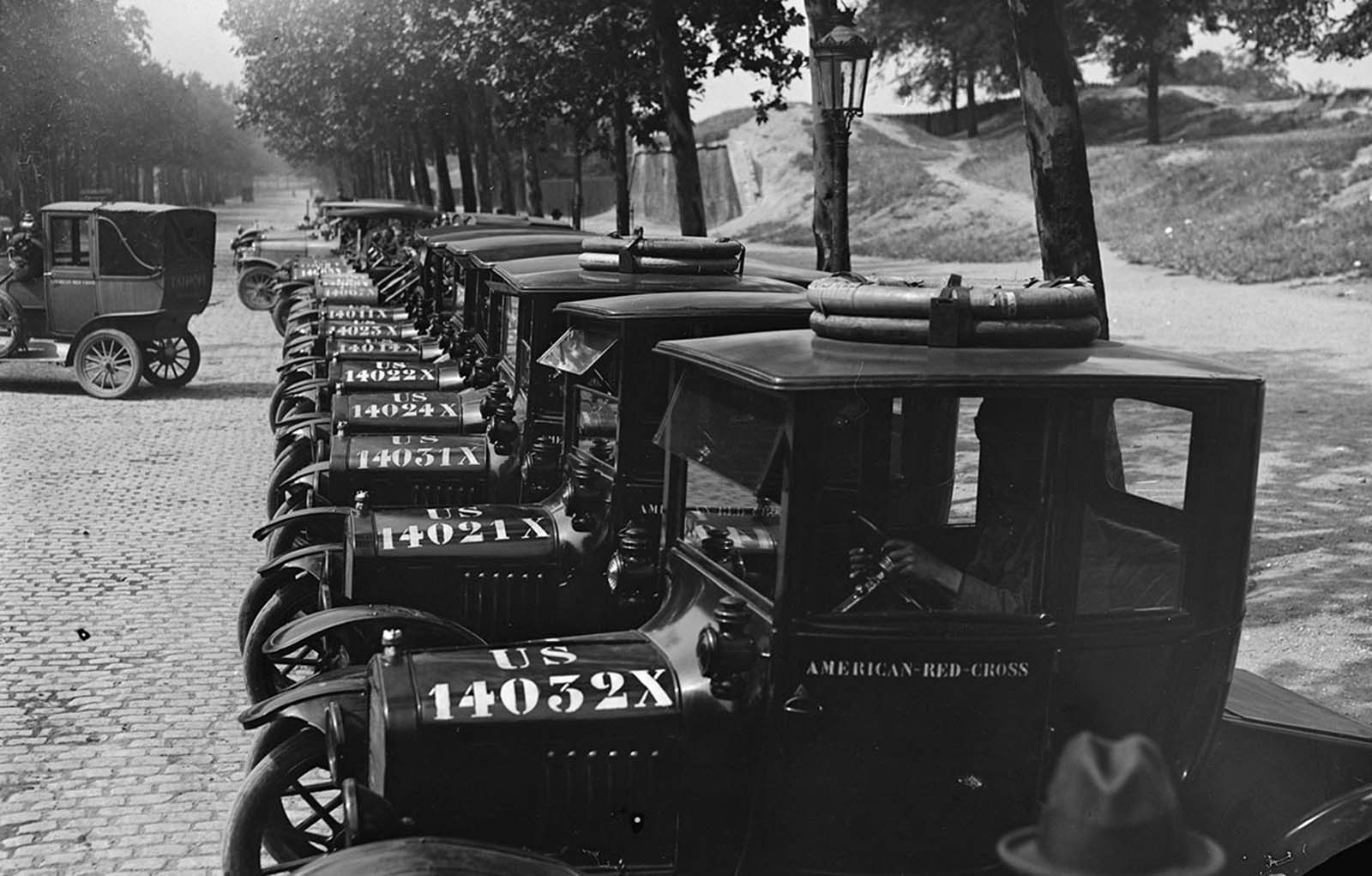Cars of American Red Cross Transportation Department, set up for inspection by Majors Perkins and Osborne on July 7, 1918.
