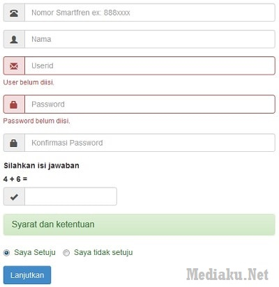 Tampilan Registrasi Smartfren