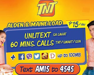 AM15 – TNT Unlitext to all Networks + 60 Mins. Call and 100MB Data