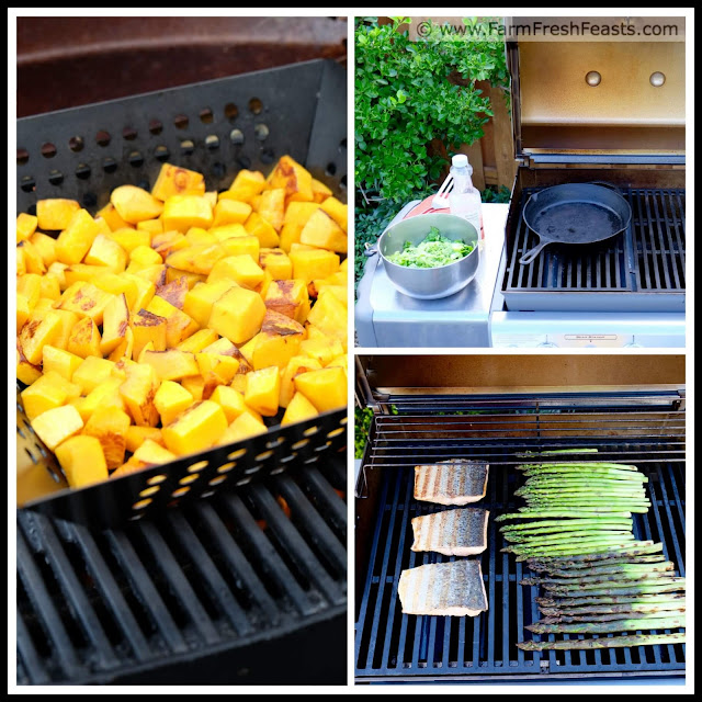 Grilled butternut squash, grilled napa cabbage, and grilled asparagus in a collage