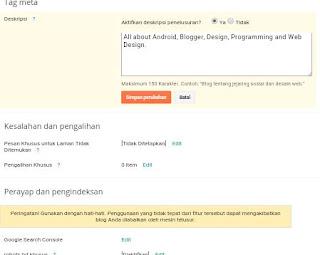 cara memasang Meta Tag keyword dan Meta Tag Description di Blogger | sebagai SEO dasar