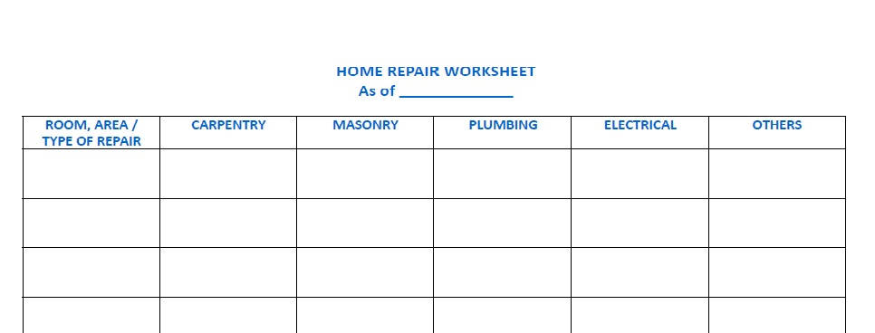 Imperfectly Living A Dream A House Repair Worksheet