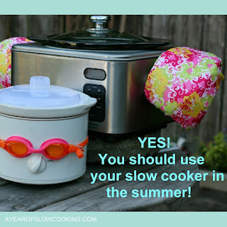 Slow cookers take up very little electricity to run when compared to your stove or oven, and they do not heat your kitchen up the way those other appliances do. You're not going to notice that your AC is struggling to keep the kitchen cool, and you're not going to be standing over a hot stove, trying not to drip into your pasta sauce.