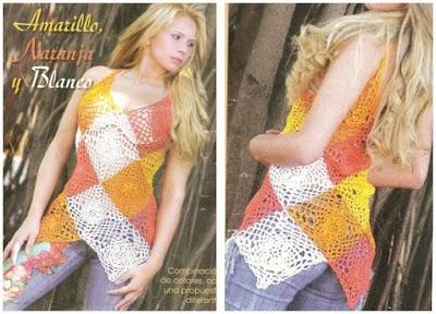 Top de pico composición patrón crochet