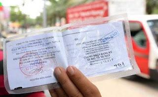 Giấy chứng nhận đăng ký xe ngân hàng xác nhận
