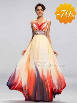 Sexy A-line Straps Printing Backless Floor-Length Evening Dress