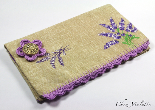 Provencal french fabric checkbook wallet edging Lace crochet by Chez Violette