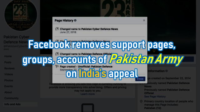 Facebook removes support pages, groups, accounts of Pakistan Army on India's appeal