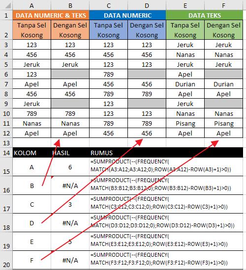Cara Menghitung Banyak Teks dan Angka Unik Dengan Excel