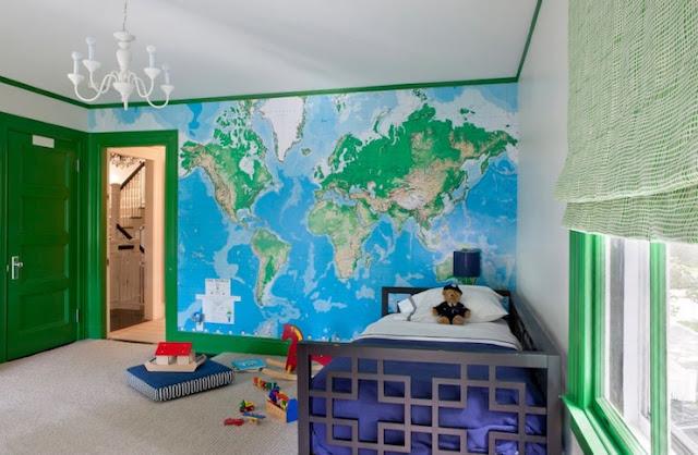 världskarta tapet barnrum fototapet barntapet