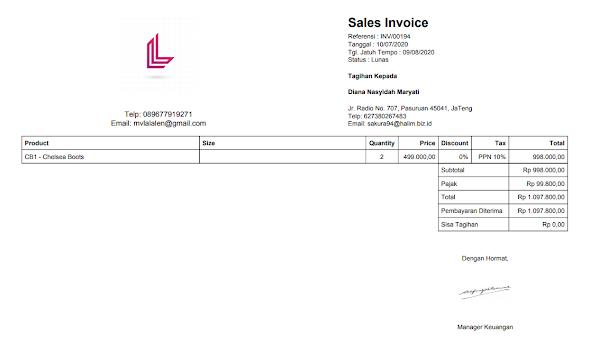 invoice penjualan