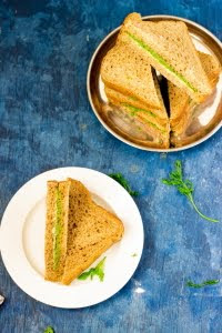 How to make chutney sandwich recipe, coriander chutney recipe, vegan sandwich, easy sandwich recipe