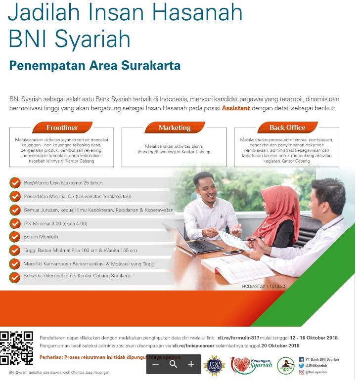 Lowongan Kerja Terbaru PT BNI Syariah Posisi Marketing, Frontliner, Back Office