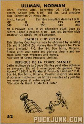 1963-64 Parkhurst #52 - Norm Ullman