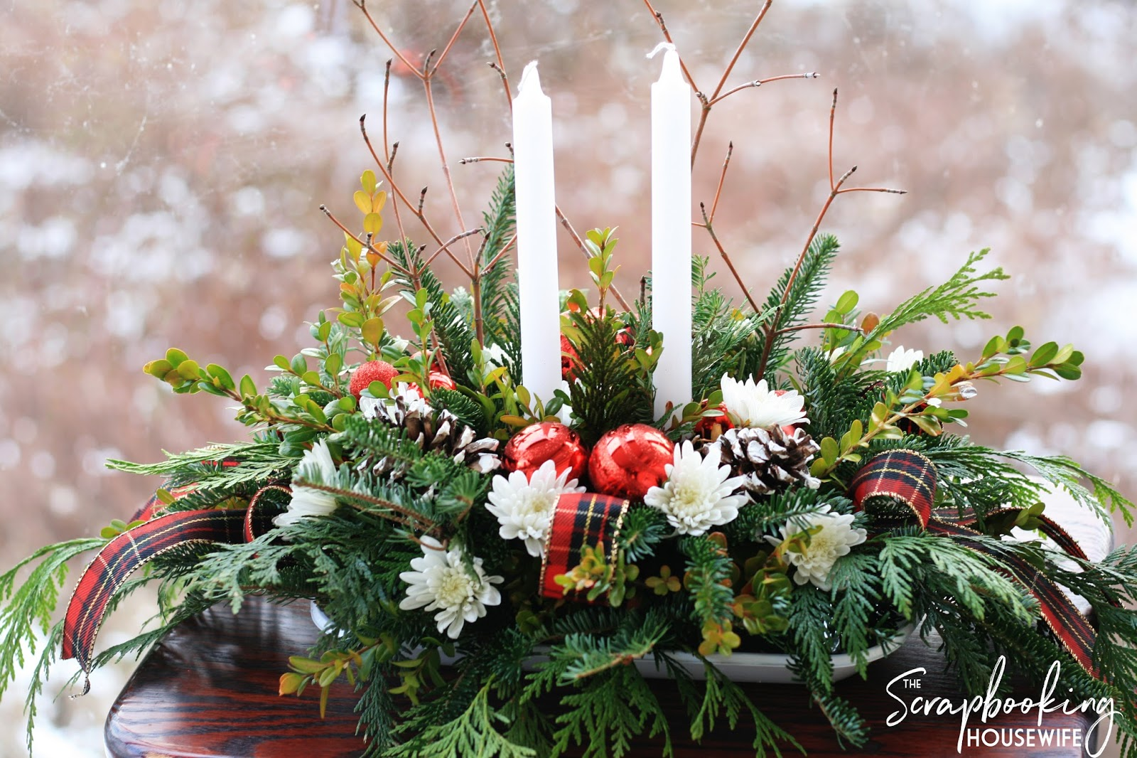 Evergreen Candle Centerpiece : Ellabella designs diy evergreen christmas candle