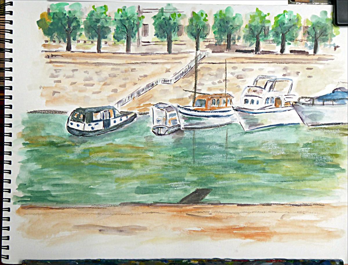 Art de vivre la peinture de peintrefiguratif croquis aquarelle du port de plaisance la - Port de l arsenal bastille ...