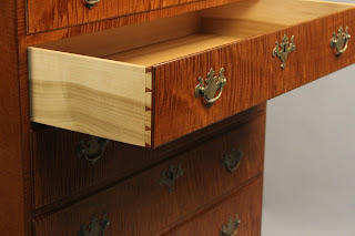 dovetailed drawer tiger maple hardwood