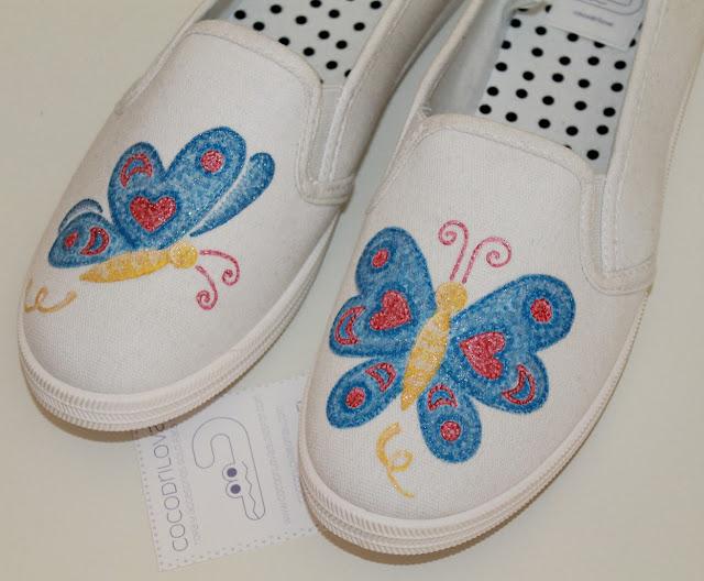 zapatillas pintadas mariposas