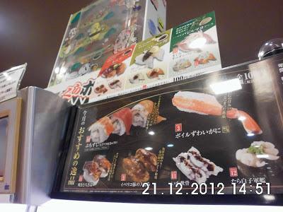 Menu di Restoran Kaitenzushi