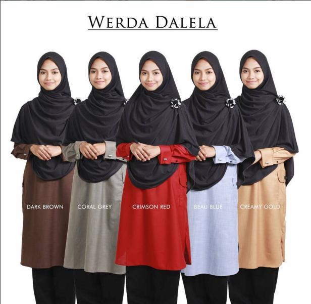 Tunic Werda Dalela : Baju muslimah labuh dengan 5 pilihan warna.