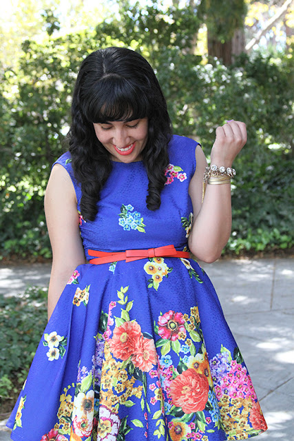 Blue Floral Dress KTR Collection Kate Spade Belt Spring Outfit Inspiration