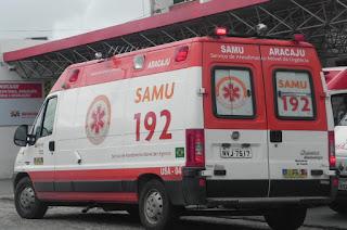 Equipe do Samu para atendimento por causa de tiroteio