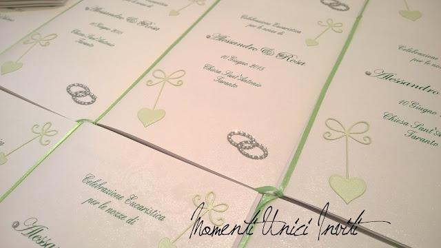 23 I libretti messa di Rosa e Alessandro...Colore Bianco Colore Verde Menta cover libretti Libretti messa Verde Mela