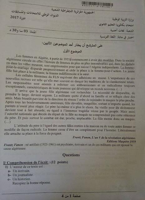موضوع بكالوريا اللغة الفرنسية لشعة اللغات الاجنببية2017