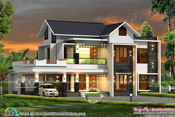 Mixed Roof Modern Home In Kerala