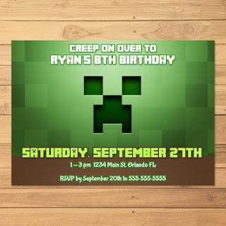 Minecraft Invitation Creeper