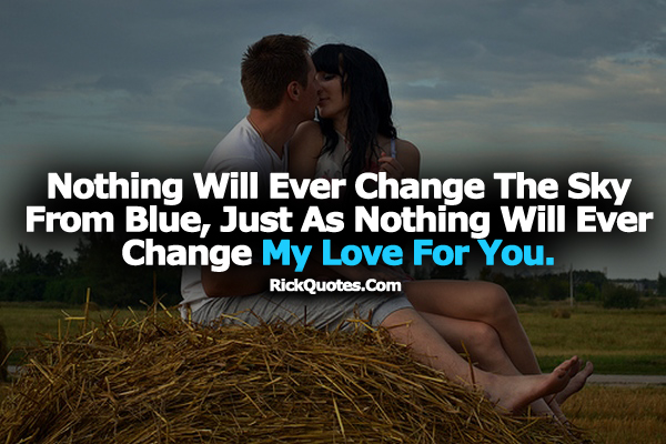 Love Quotes | Ever Change My Love For You couple hug Kissing Grass Romantic